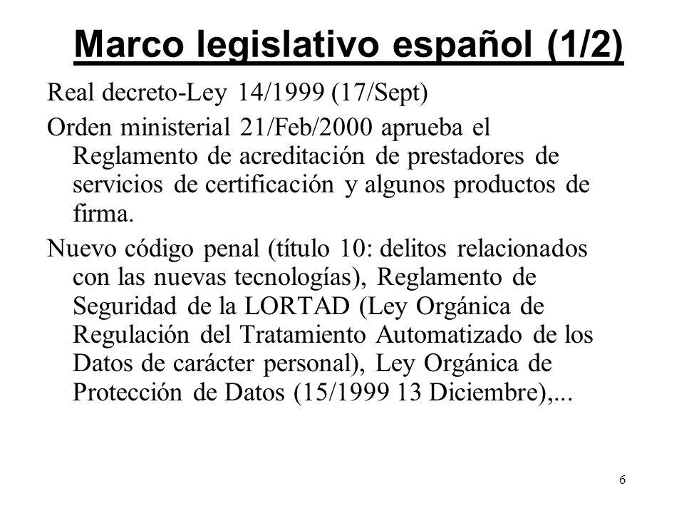 Marco legislativo español (1/2)