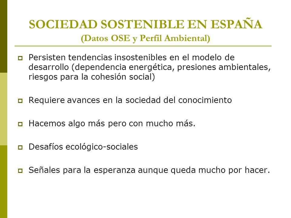 SOCIEDAD SOSTENIBLE EN ESPAÑA (Datos OSE y Perfil Ambiental)
