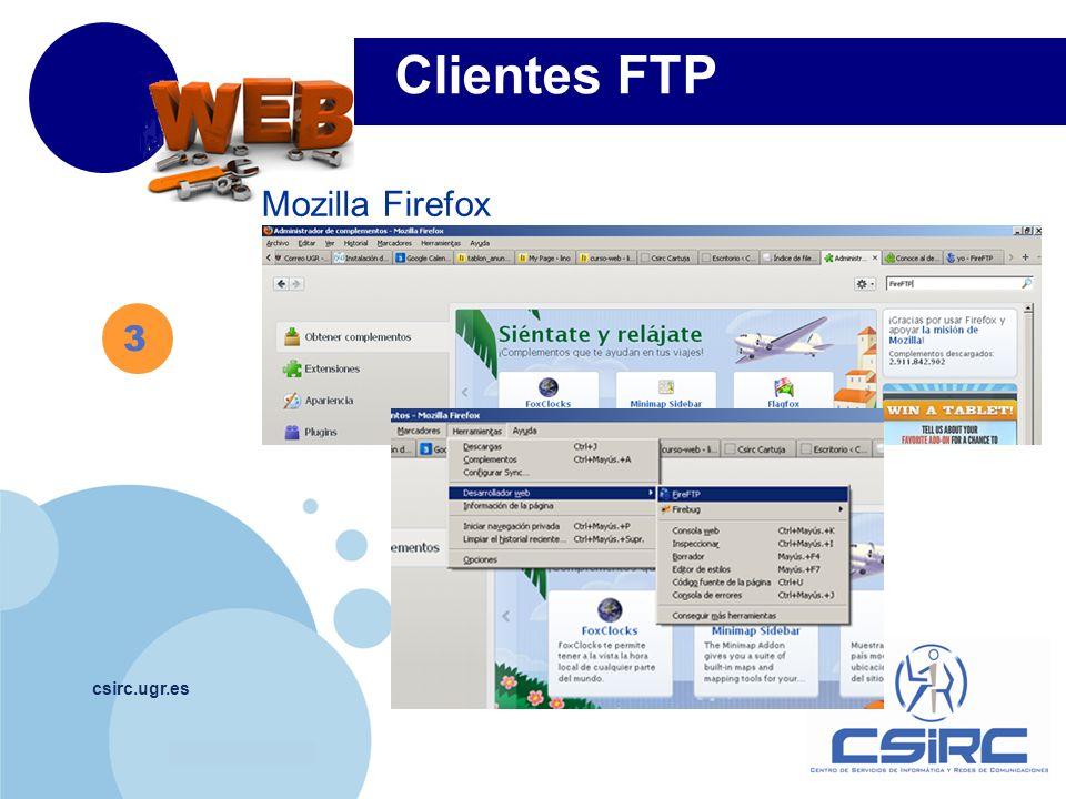 Clientes FTP Mozilla Firefox 3 csirc.ugr.es