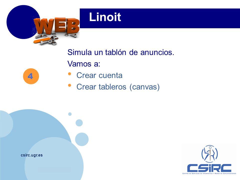 Linoit Simula un tablón de anuncios. Vamos a: Crear cuenta