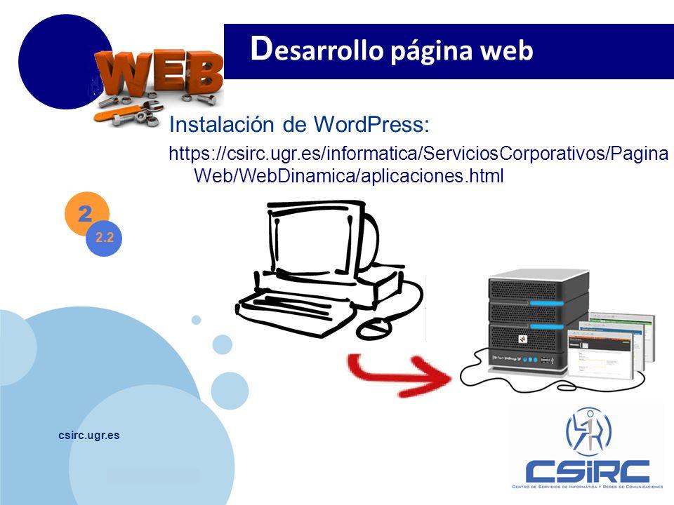 Desarrollo página web Instalación de WordPress: 2