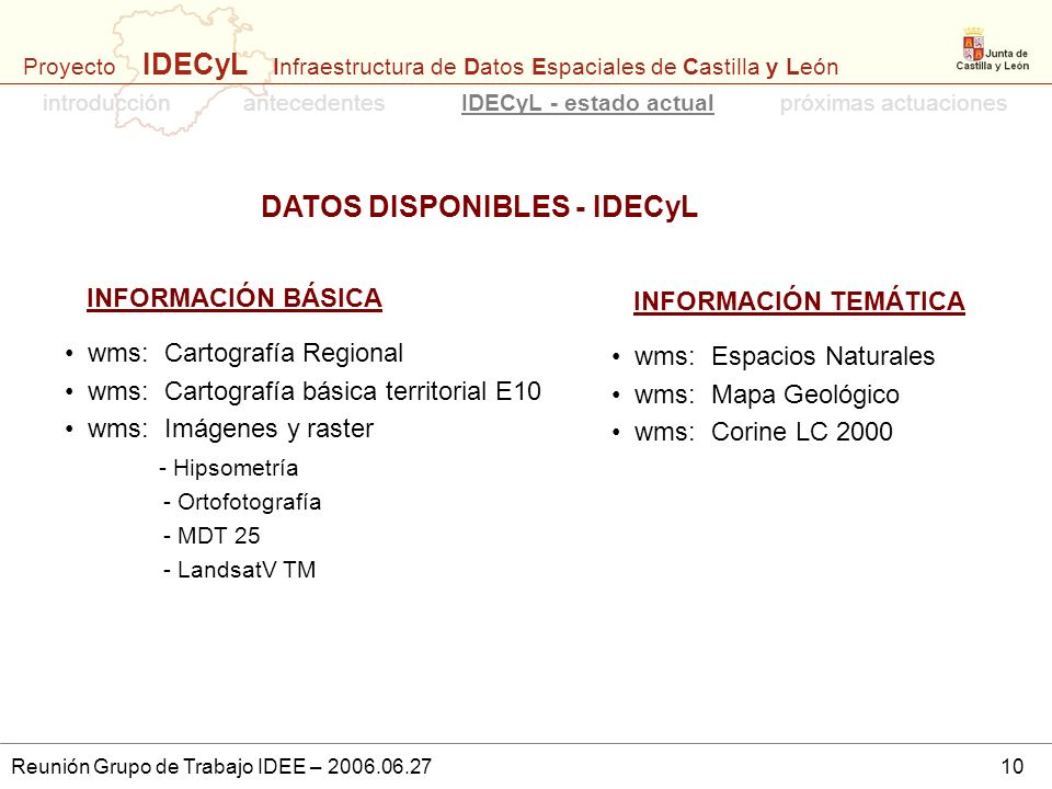 DATOS DISPONIBLES - IDECyL