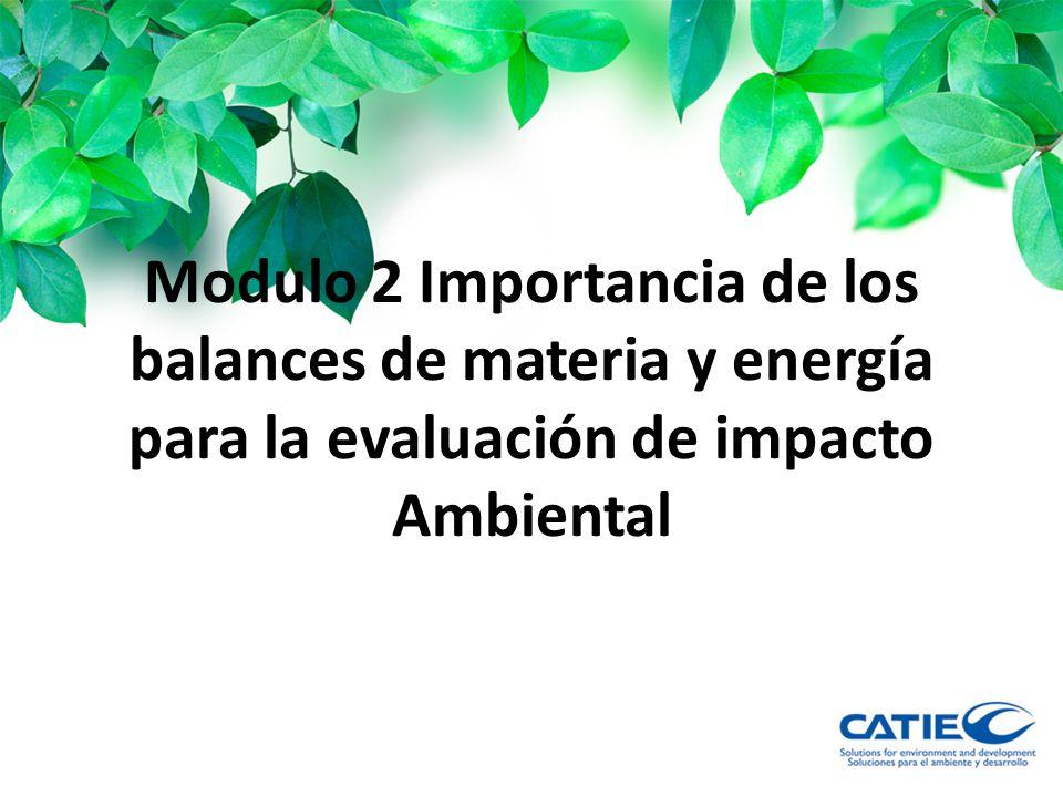 Modulo 2 Importancia de los balances de materia y energía para la evaluación de impacto Ambiental