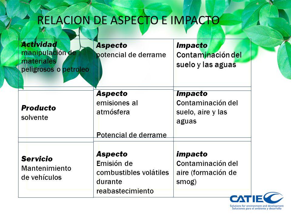 RELACION DE ASPECTO E IMPACTO