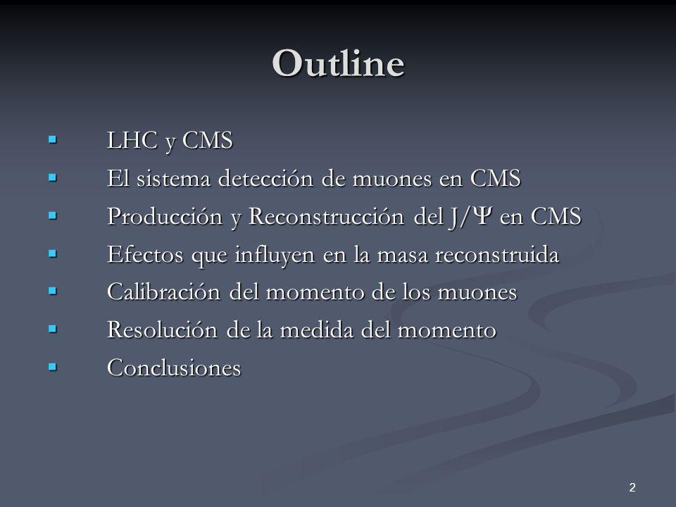 Outline LHC y CMS El sistema detección de muones en CMS