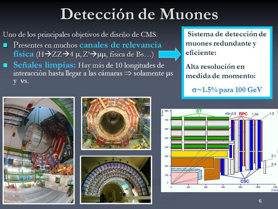 Detección de MuonesSistema de detección de muones redundante y eficiente: Alta resolución en medida de momento: