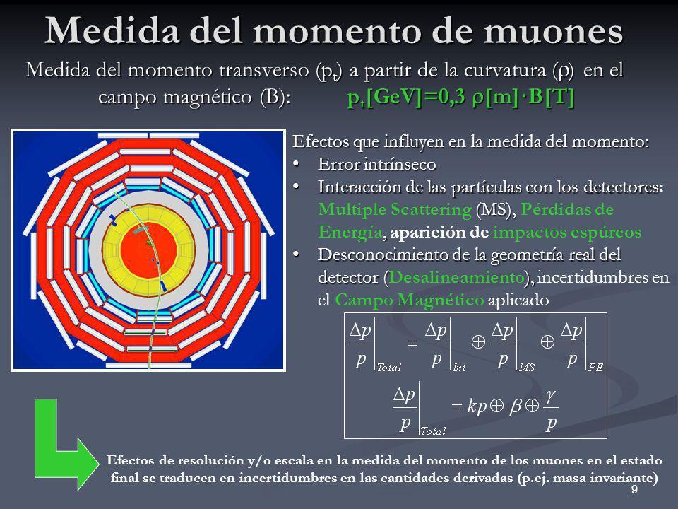 Medida del momento de muones