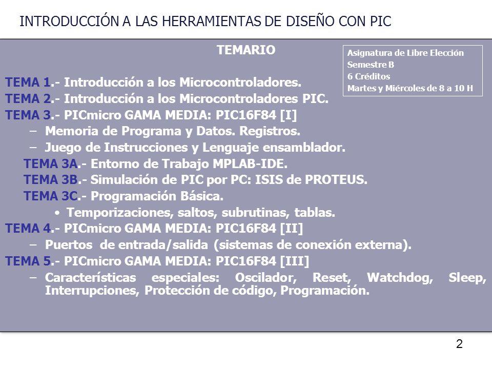 INTRODUCCIÓN A LAS HERRAMIENTAS DE DISEÑO CON PIC