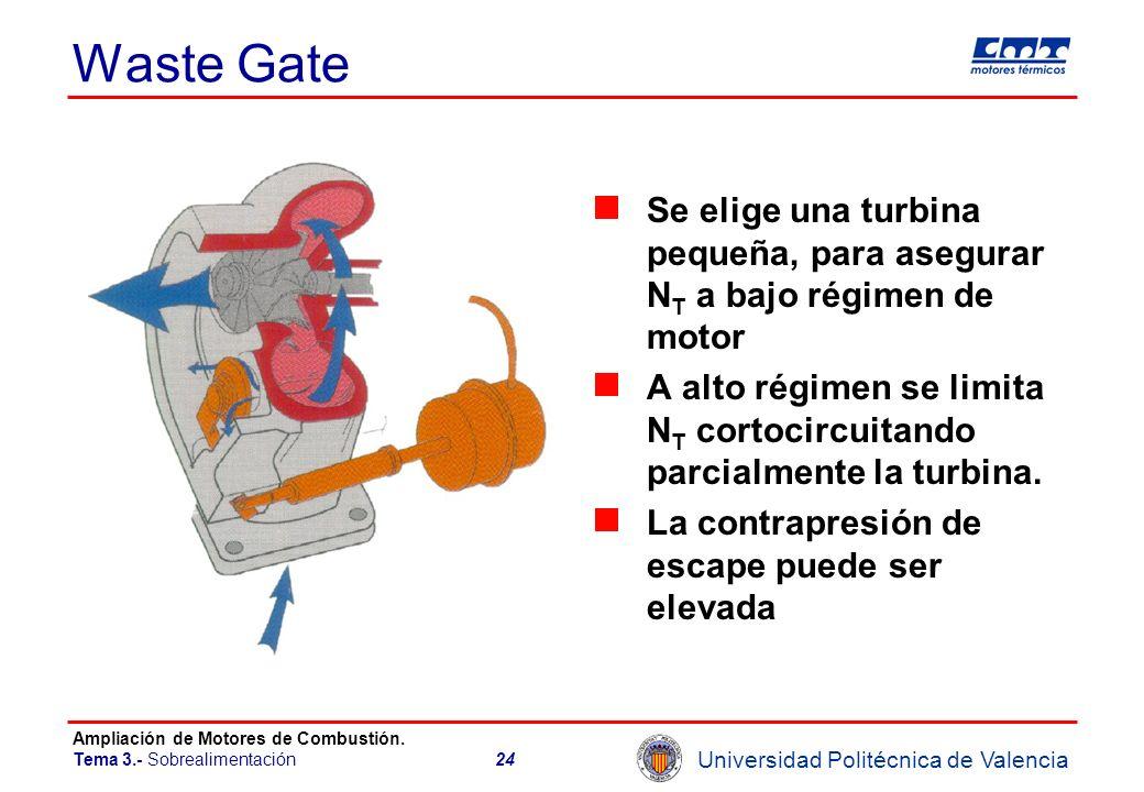 Waste Gate Se elige una turbina pequeña, para asegurar NT a bajo régimen de motor.