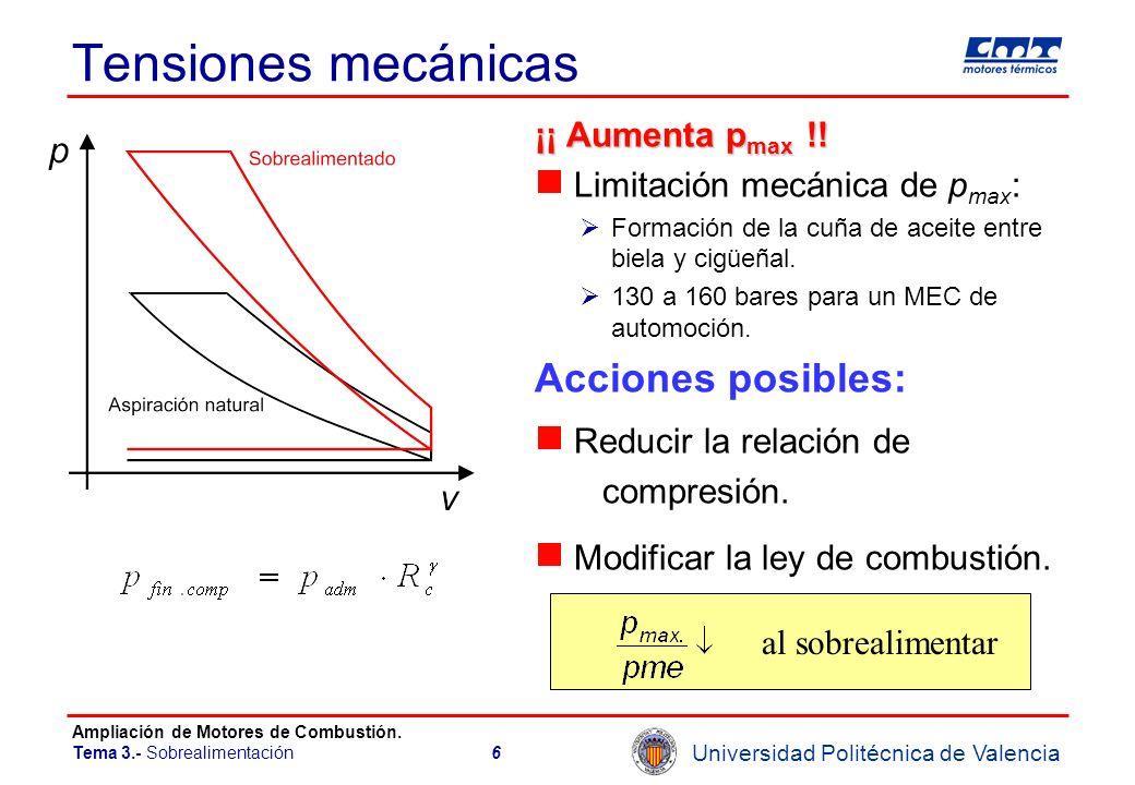 Tensiones mecánicas Acciones posibles: ¡¡ Aumenta pmax !!