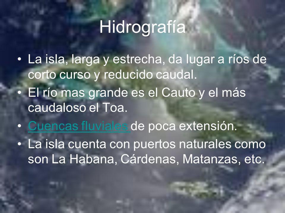 Hidrografía La isla, larga y estrecha, da lugar a ríos de corto curso y reducido caudal. El río mas grande es el Cauto y el más caudaloso el Toa.