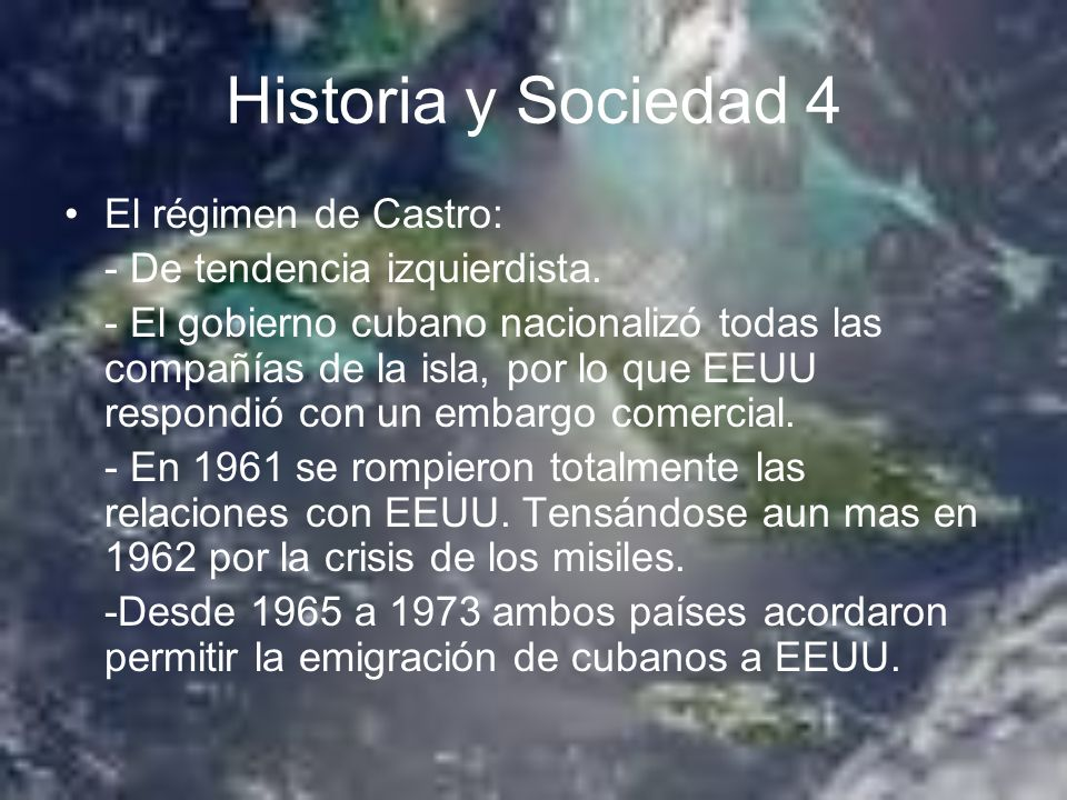 Historia y Sociedad 4 El régimen de Castro: