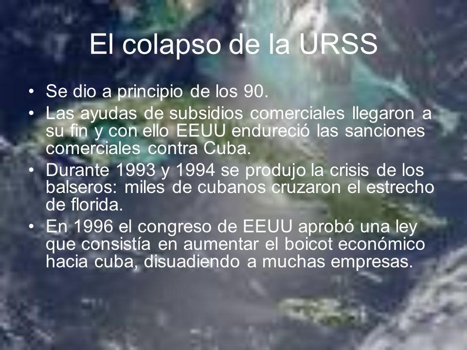 El colapso de la URSS Se dio a principio de los 90.