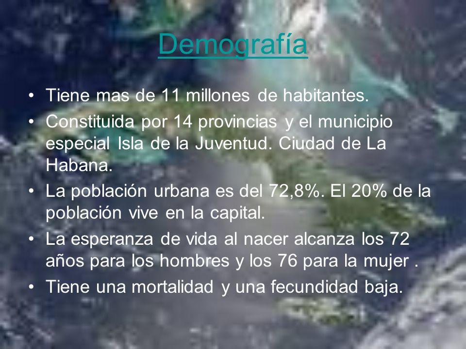 Demografía Tiene mas de 11 millones de habitantes.