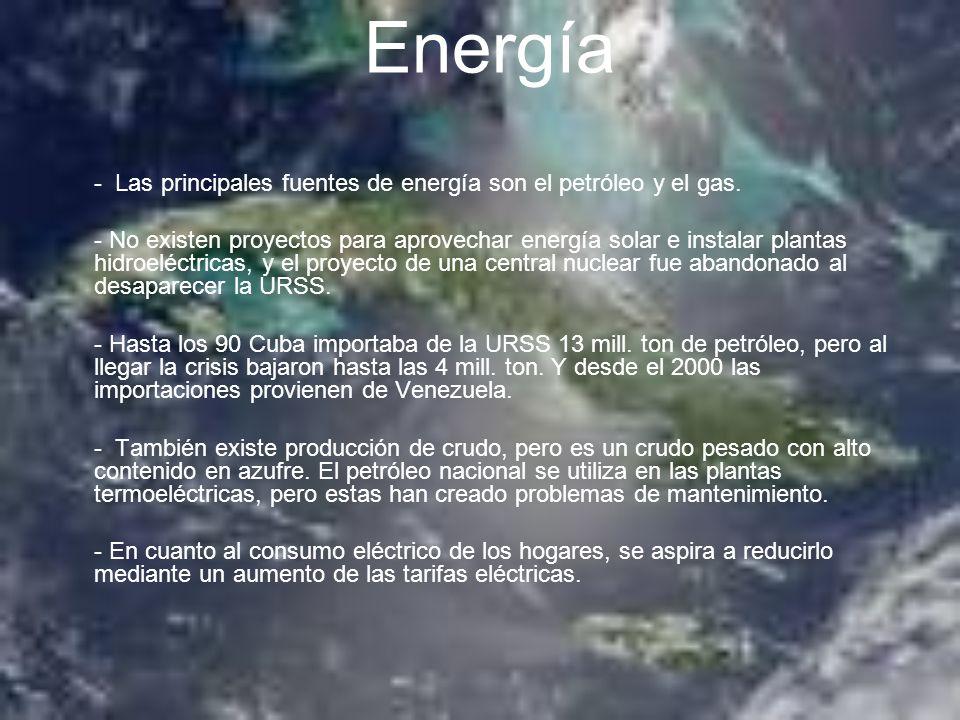 Energía - Las principales fuentes de energía son el petróleo y el gas.