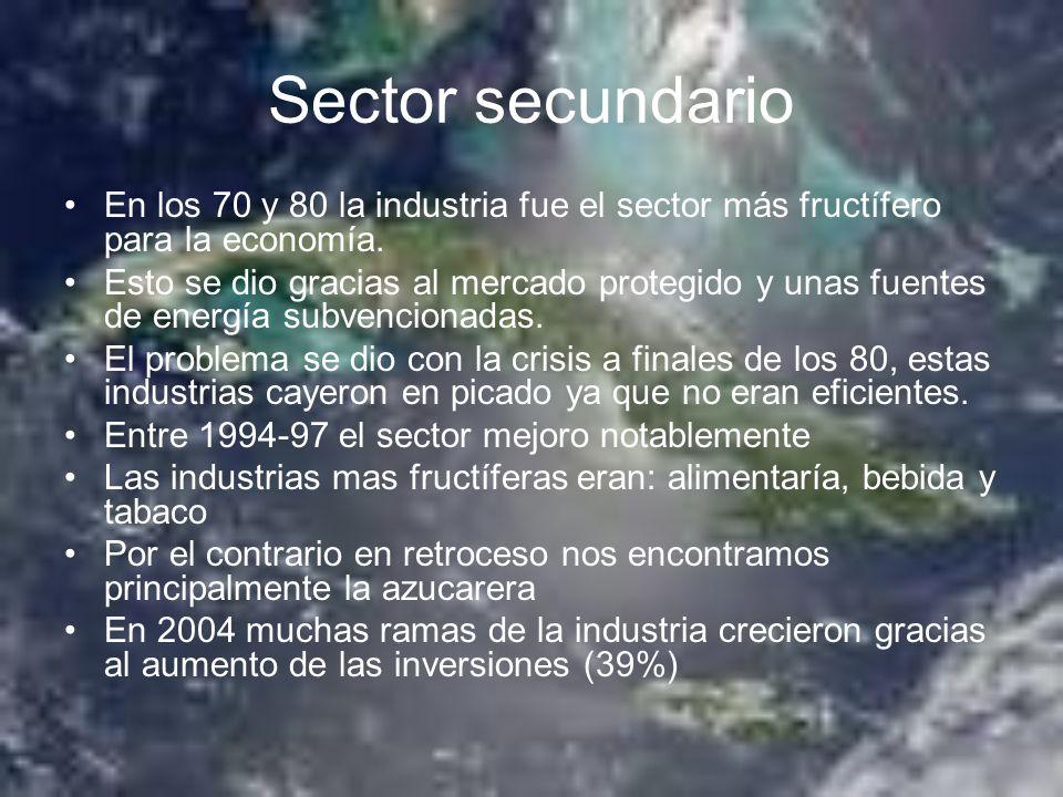 Sector secundario En los 70 y 80 la industria fue el sector más fructífero para la economía.