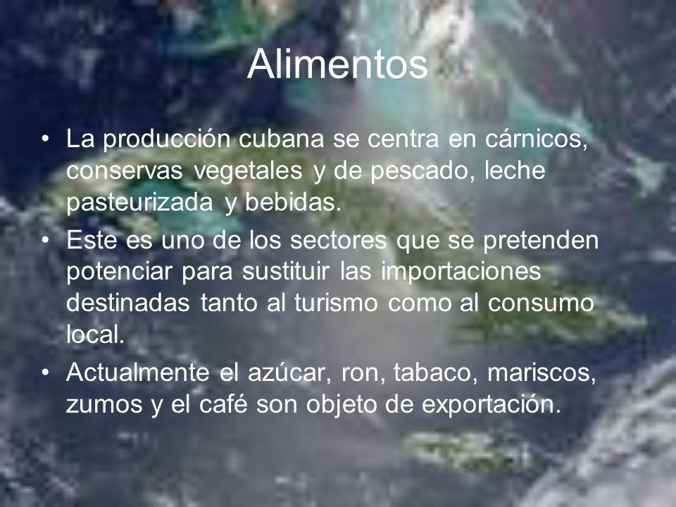 Alimentos La producción cubana se centra en cárnicos, conservas vegetales y de pescado, leche pasteurizada y bebidas.