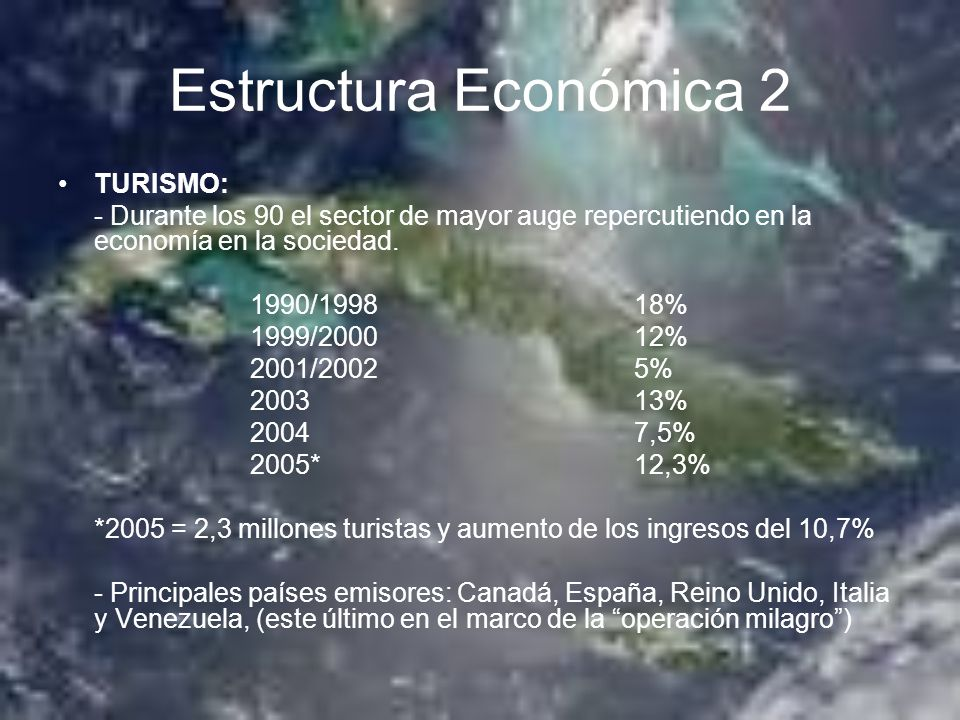 Estructura Económica 2 TURISMO: