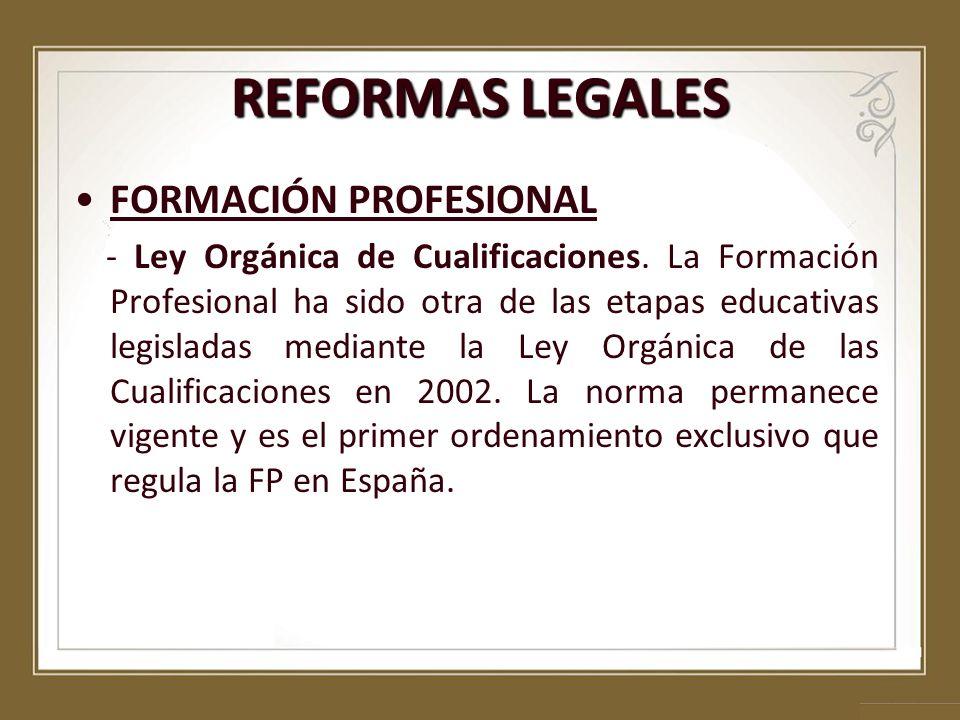 REFORMAS LEGALES FORMACIÓN PROFESIONAL