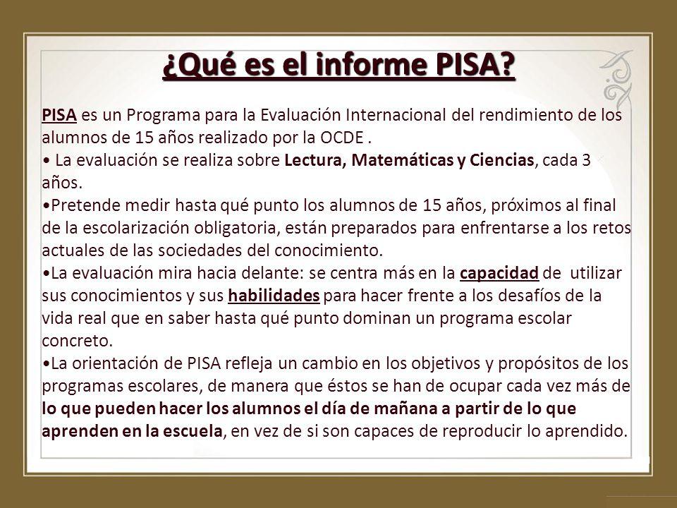 ¿Qué es el informe PISA PISA es un Programa para la Evaluación Internacional del rendimiento de los alumnos de 15 años realizado por la OCDE .