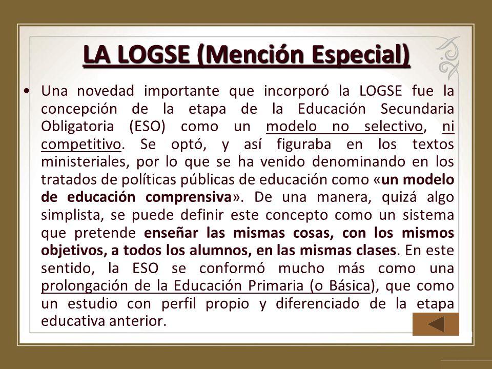 LA LOGSE (Mención Especial)