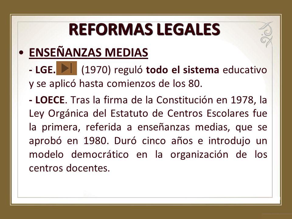 REFORMAS LEGALES ENSEÑANZAS MEDIAS