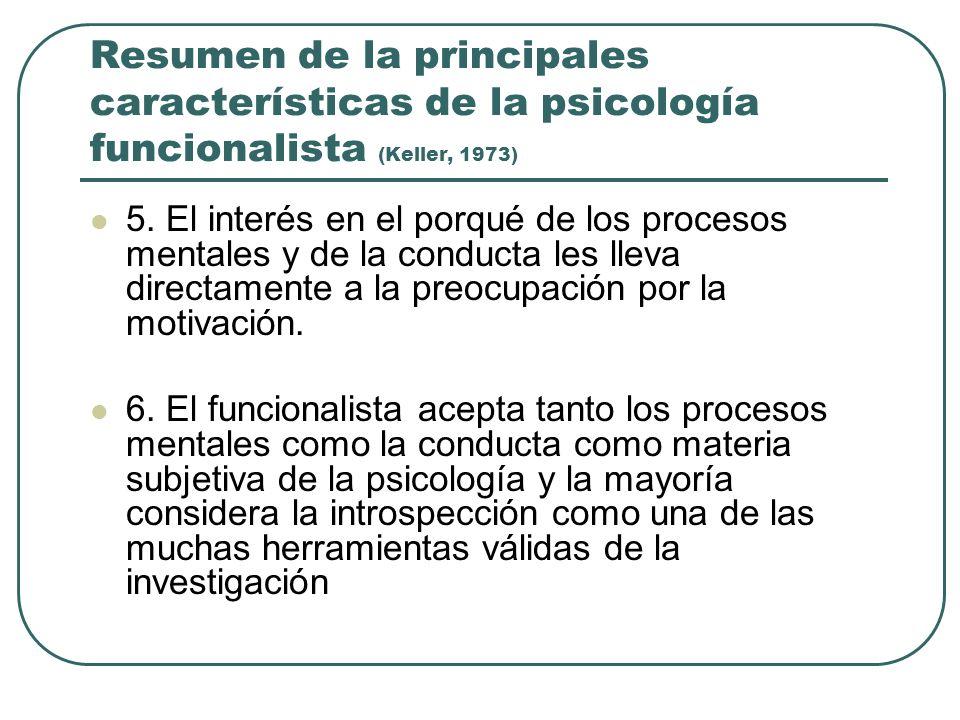 Resumen de la principales características de la psicología funcionalista (Keller, 1973)