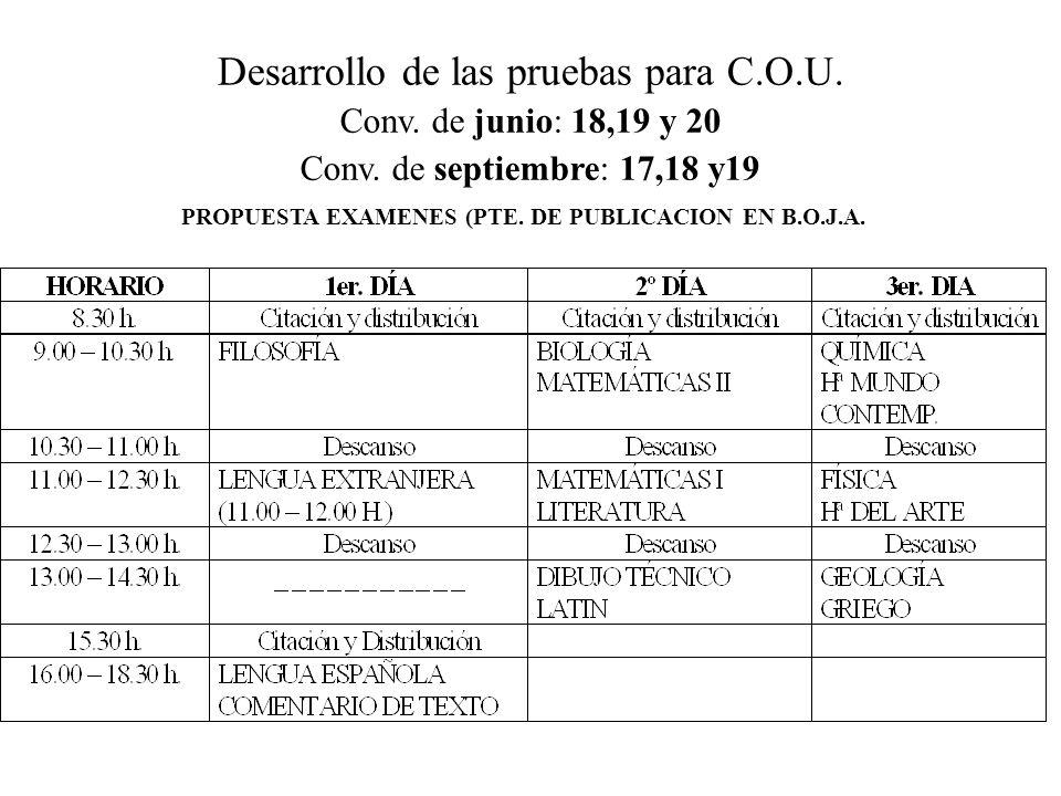 PROPUESTA EXAMENES (PTE. DE PUBLICACION EN B.O.J.A.