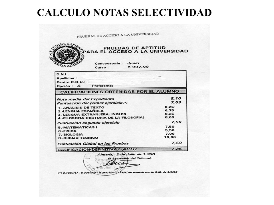 CALCULO NOTAS SELECTIVIDAD