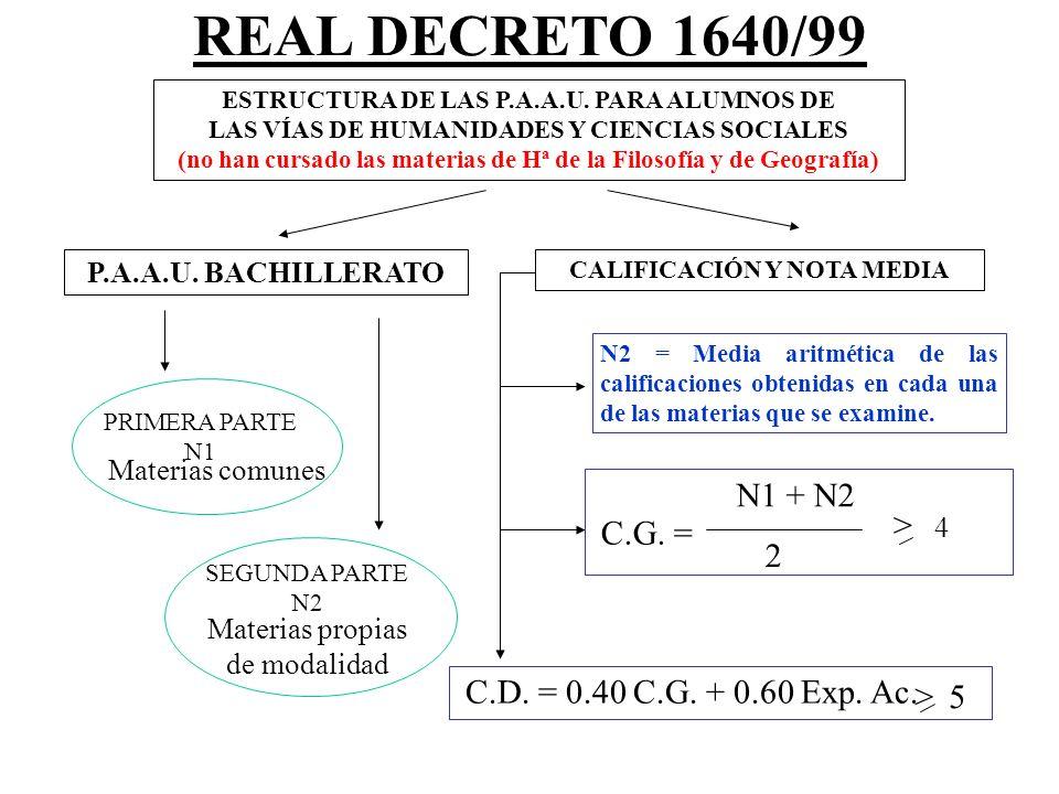 REAL DECRETO 1640/99 N1 + N2 > 4 C.G. = 2
