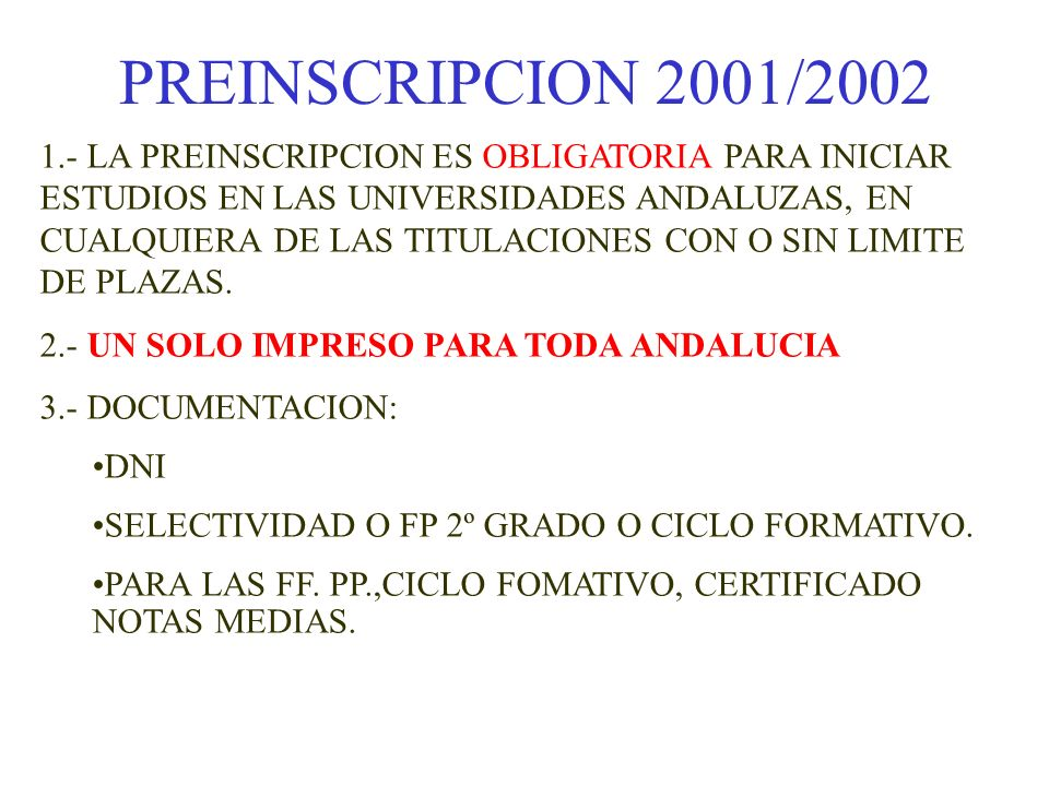 PREINSCRIPCION 2001/2002