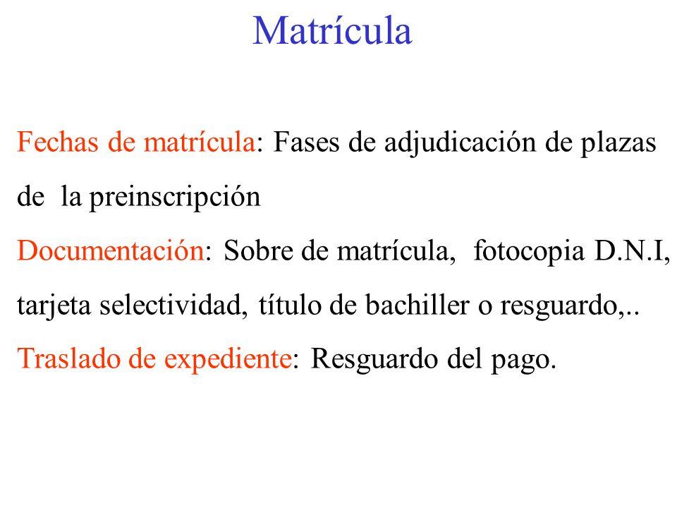 Matrícula Fechas de matrícula: Fases de adjudicación de plazas