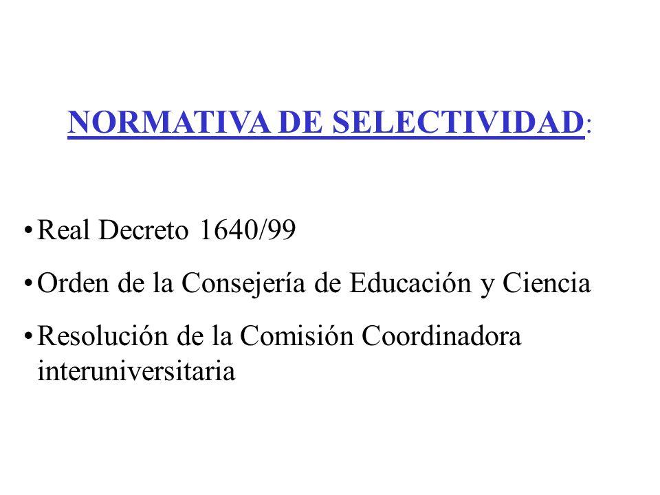 NORMATIVA DE SELECTIVIDAD: