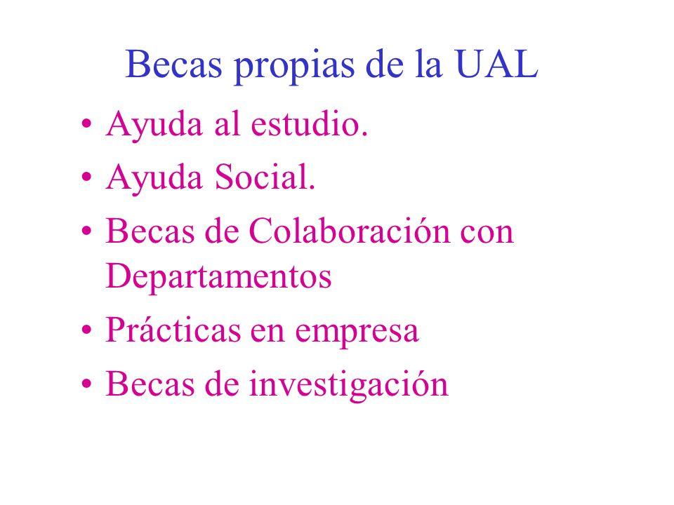 Becas propias de la UAL Ayuda al estudio. Ayuda Social.