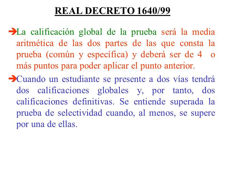 REAL DECRETO 1640/99