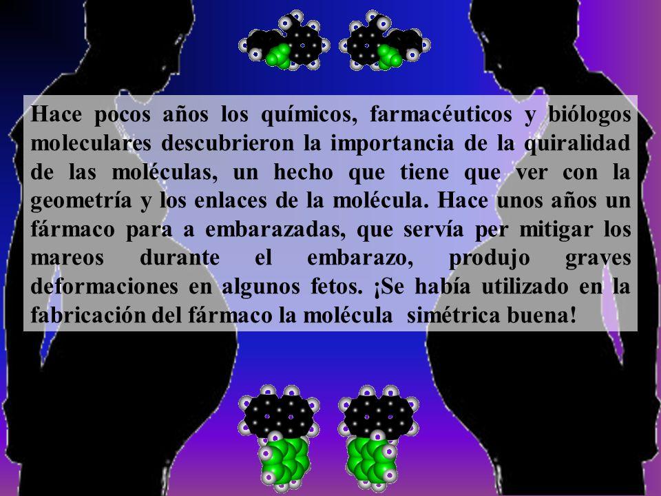Hace pocos años los químicos, farmacéuticos y biólogos moleculares descubrieron la importancia de la quiralidad de las moléculas, un hecho que tiene que ver con la geometría y los enlaces de la molécula.