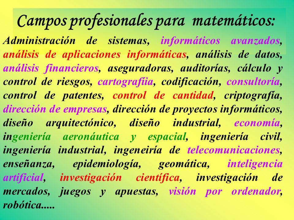 Campos profesionales para matemáticos:
