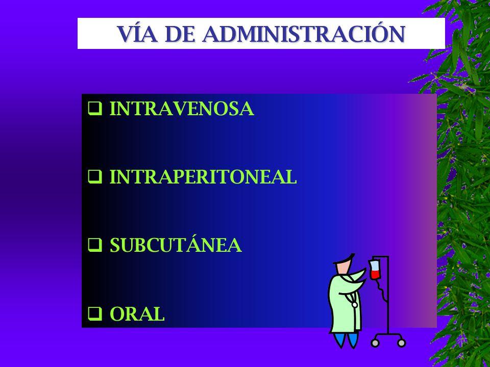 VÍA DE ADMINISTRACIÓN INTRAVENOSA INTRAPERITONEAL SUBCUTÁNEA ORAL