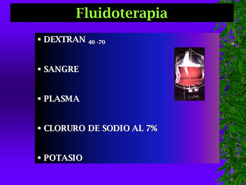 Fluidoterapia DEXTRAN 40 -70 SANGRE PLASMA CLORURO DE SODIO AL 7%
