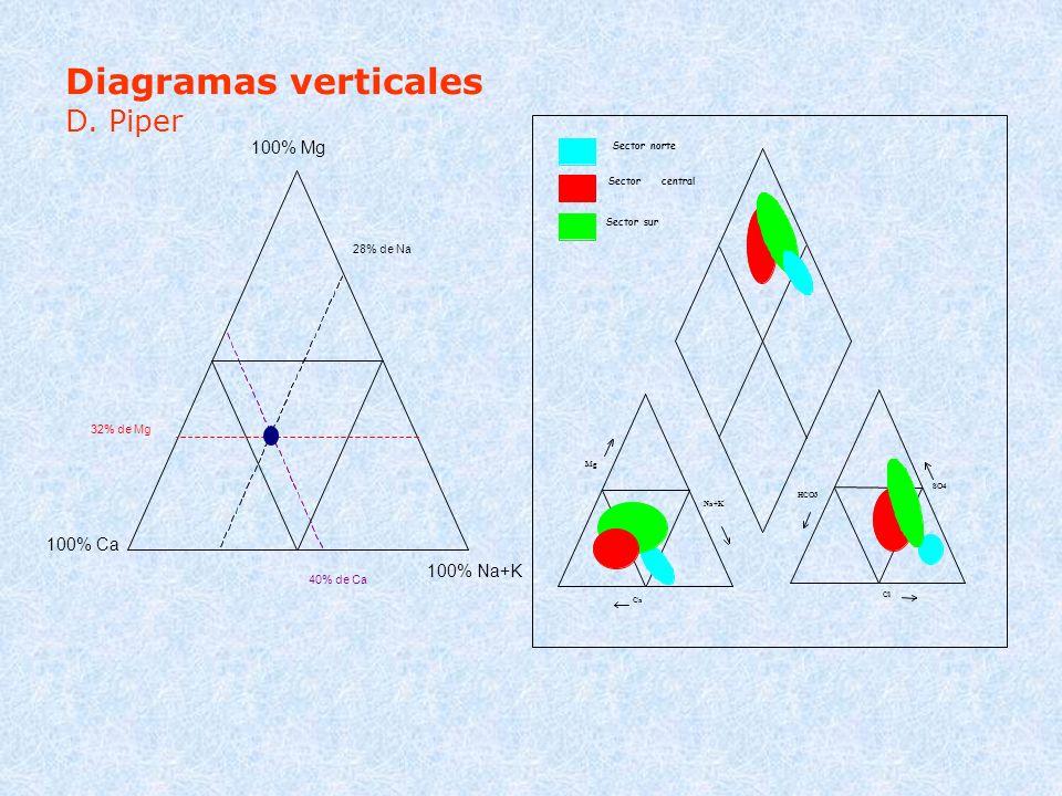 Diagramas verticales D. Piper 100% Mg 100% Ca 100% Na+K 28% de Na