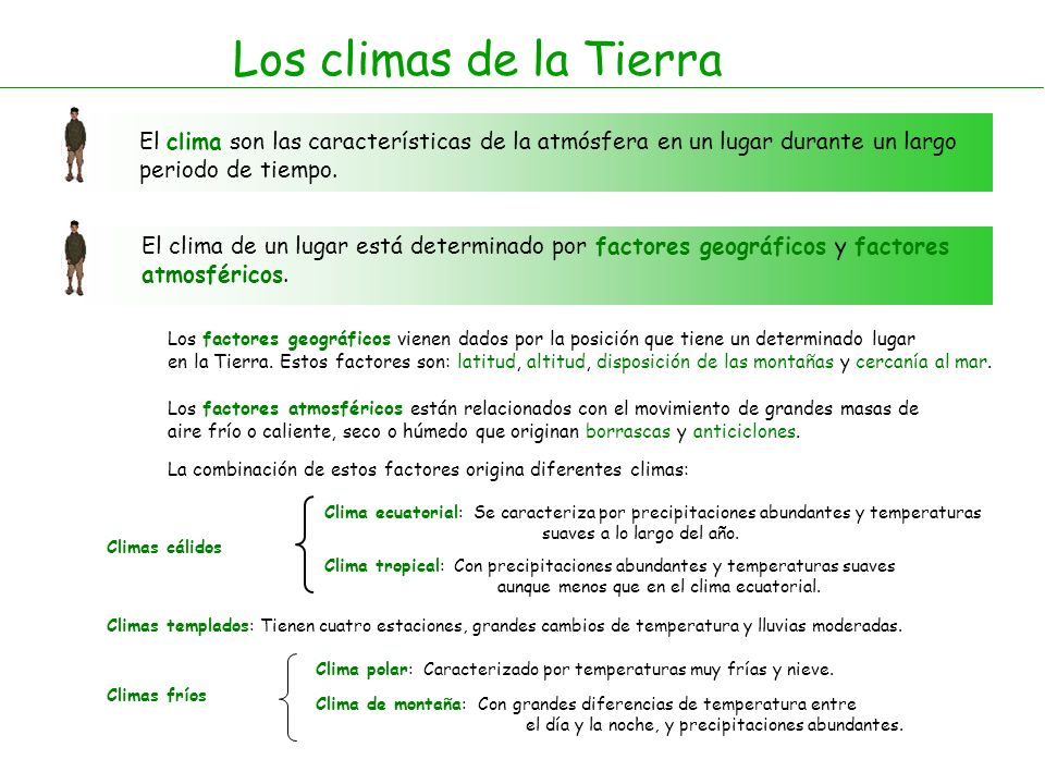 Los climas de la Tierra El clima son las características de la atmósfera en un lugar durante un largo periodo de tiempo.