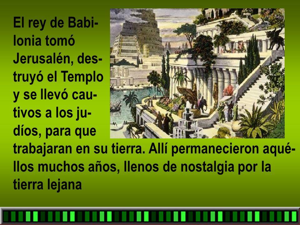 El rey de Babi- lonia tomó. Jerusalén, des- truyó el Templo. y se llevó cau- tivos a los ju- díos, para que.
