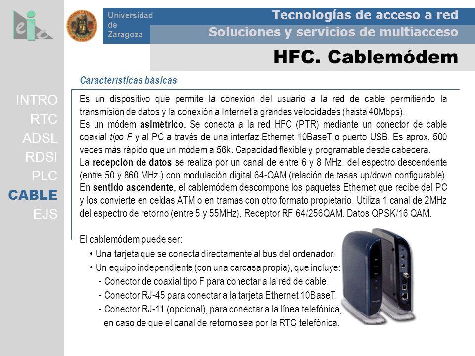 HFC. Cablemódem INTRO RTC ADSL RDSI PLC CABLE EJS