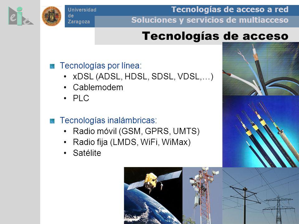 Tecnologías de acceso Tecnologías por línea: