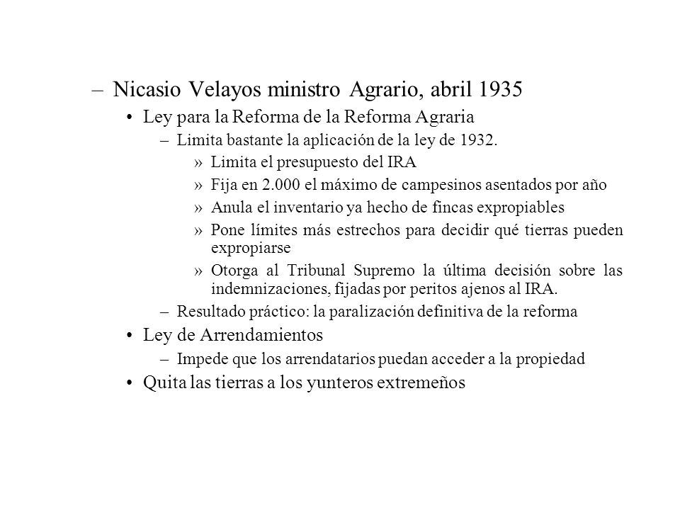 Nicasio Velayos ministro Agrario, abril 1935