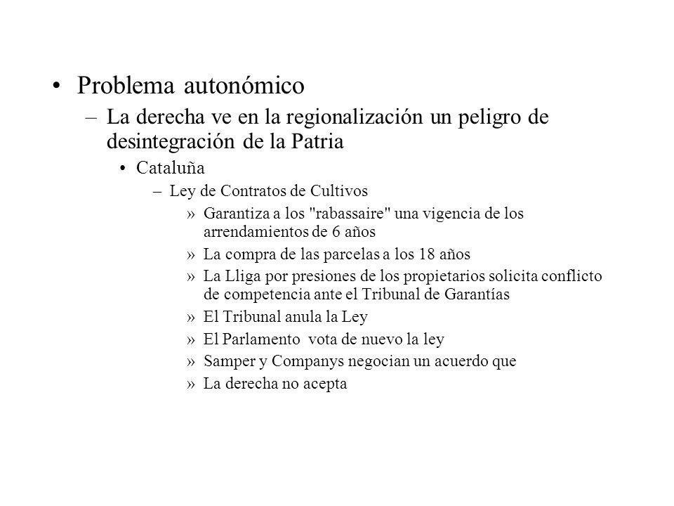 Problema autonómico La derecha ve en la regionalización un peligro de desintegración de la Patria. Cataluña.