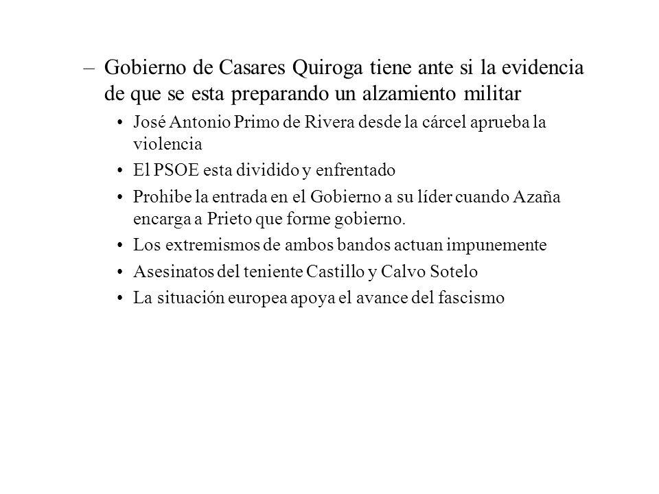 Gobierno de Casares Quiroga tiene ante si la evidencia de que se esta preparando un alzamiento militar