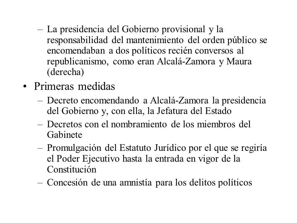 La presidencia del Gobierno provisional y la responsabilidad del mantenimiento del orden público se encomendaban a dos políticos recién conversos al republicanismo, como eran Alcalá-Zamora y Maura (derecha)