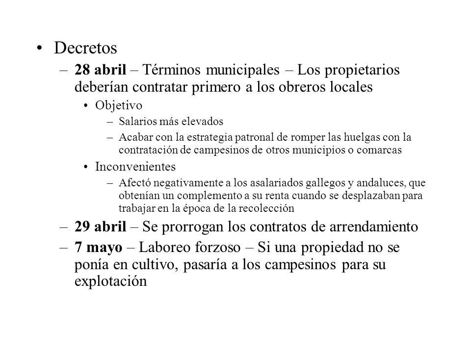 Decretos 28 abril – Términos municipales – Los propietarios deberían contratar primero a los obreros locales.