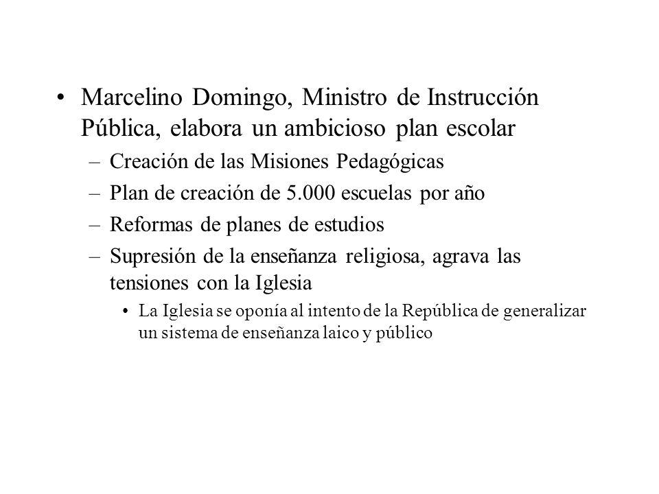 Marcelino Domingo, Ministro de Instrucción Pública, elabora un ambicioso plan escolar